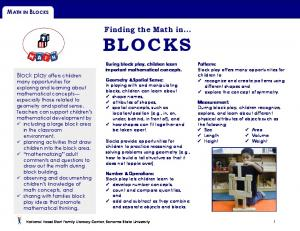 Finding the Math in... BLOCKS