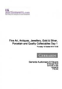 Fine Art, Antiques, Jewellery, Gold & Silver, Porcelain and Quality Collectables Day 1