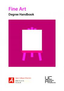 Fine Art. Degree Handbook
