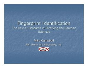 Fingerprint Identification The Role of Research in Fortifying the Forensic Sciences