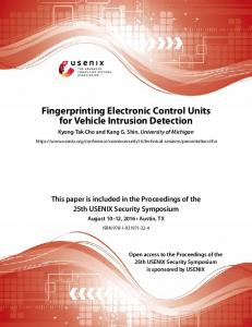 Fingerprinting Electronic Control Units for Vehicle Intrusion Detection