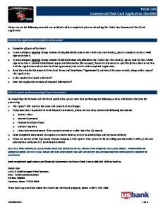 Finish Line Commercial Fleet Card Application Checklist