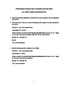 FINISHERS FORUM HOST HOUSING GUIDELINES. For HOST HOME COORDINATOR