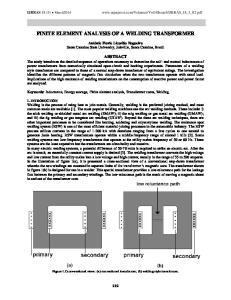FINITE ELEMENT ANALYSIS OF A WELDING TRANSFORMER