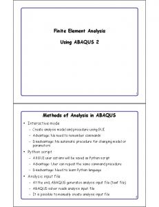 Finite Element Analysis. Using ABAQUS 2