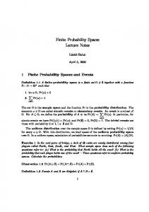 Finite Probability Spaces Lecture Notes