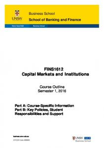 FINS1612 Capital Markets and Institutions