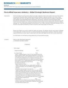 Fire & Allied Insurance Industry - Global Strategic Business Report