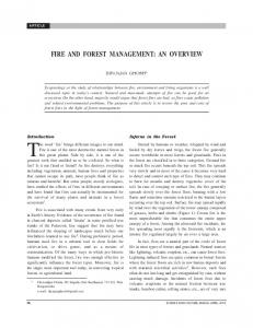 FIRE AND FOREST MANAGEMENT: AN OVERVIEW