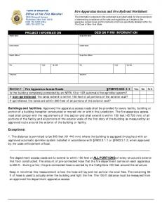 Fire Apparatus Access and Fire Hydrant Worksheet