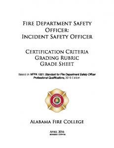 Fire Department Safety Officer: Incident Safety Officer