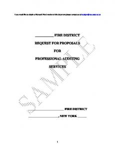 FIRE DISTRICT REQUEST FOR PROPOSALS FOR PROFESSIONAL AUDITING SERVICES