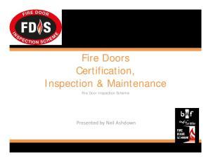 Fire Doors. Inspection & Maintenance