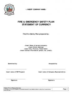 FIRE & EMERGENCY SAFETY PLAN STATEMENT OF CURRENCY