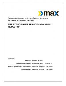 FIRE EXTINGUISHER SERVICE AND ANNUAL INSPECTION