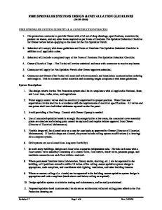 FIRE SPRINKLER SYSTEMS DESIGN & INSTALLATION GUIDELINES ( )