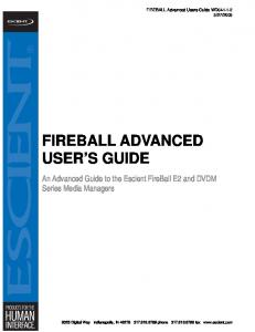 FIREBALL ADVANCED USER S GUIDE