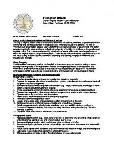 Firefighter #01580 City of Virginia Beach Job Description Date of Last Revision: