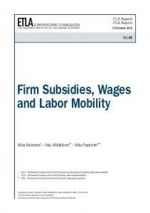Firm Subsidies, Wages and Labor Mobility