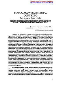 FIRMA, ACONTECIMIENTO, CONTEXTO Jacques Derrida