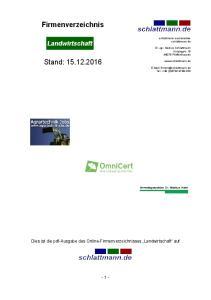 Firmenverzeichnis. Stand: Landwirtschaft. Dies ist die pdf-ausgabe des Online-Firmenverzeichnisses Landwirtschaft auf - 1 -