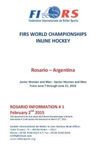 FIRS WORLD CHAMPIONSHIPS INLINE HOCKEY. Rosario Argentina