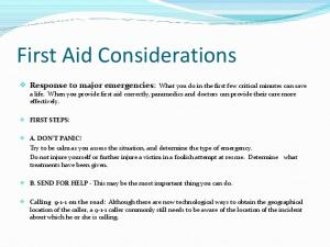 First Aid Considerations
