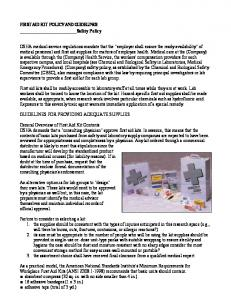 FIRST AID KIT POLICY AND GUIDELINES Safety Policy