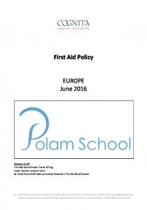 First Aid Policy. EUROPE June 2016