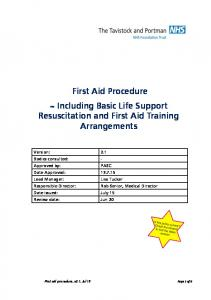 First Aid Procedure ~ Including Basic Life Support Resuscitation and First Aid Training Arrangements