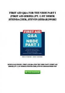FIRST AID Q&A FOR THE NBDE PART I (FIRST AID SERIES) (PT. 1) BY DEREK STEINBACHER, STEVEN SIERAKOWSKI