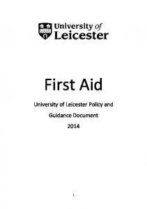 First Aid University of Leicester Policy and Guidance Document