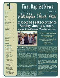 First Baptist News. Sunday, June 21, During Both Morning Worship Services CHURCH PLANTING TEAM. First Baptist Church