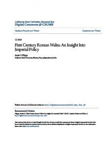 First Century Roman Wales: An Insight Into Imperial Policy