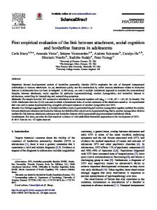 First empirical evaluation of the link between attachment, social cognition and borderline features in adolescents