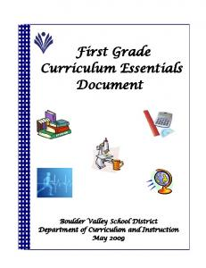First Grade Curriculum Essentials Document
