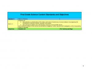First Grade Science Content Standards and Objectives