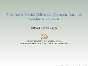 First Order Partial Differential Equation, Part - 2: Non-linear Equation