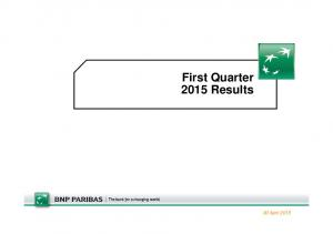 First Quarter 2015 Results