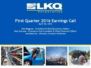 First Quarter 2016 Earnings Call