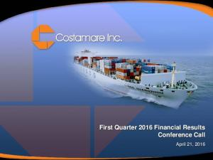 First Quarter 2016 Financial Results Conference Call
