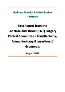 First Report from the Ear Nose and Throat (ENT) Surgery Clinical Committee - Tonsillectomy, Adenoidectomy & Insertion of Grommets