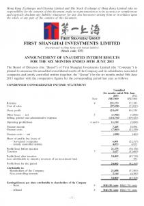 FIRST SHANGHAI INVESTMENTS LIMITED