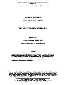 FISCAL FEDERALISM IN BELGIUM