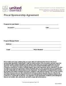 Fiscal Sponsorship Agreement