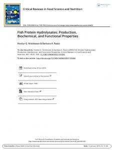 Fish Protein Hydrolysates: Production, Biochemical, and Functional Properties