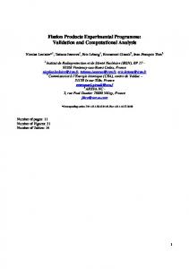 Fission Products Experimental Programme: Validation and Computational Analysis