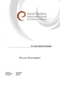 FIT AND PROPER PERSON POLICY STATEMENT