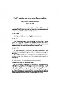 Fitch s paradox and ceteris paribus modalities