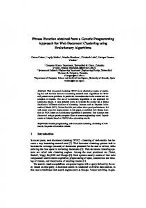 Fitness Function obtained from a Genetic Programming Approach for Web Document Clustering using Evolutionary Algorithms